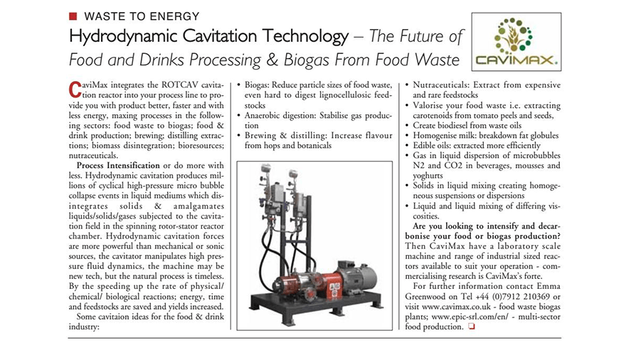 Cavimax and ROTOCAV on Food and Drink Business Europe magazine