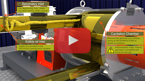 ROTOCAV hydrodynamic cavitator for edible oils: degumming, alkali refining, bleaching